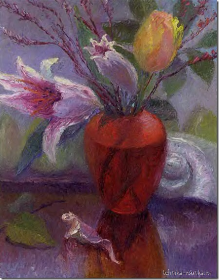 рисунок тюльпанов и ракушки