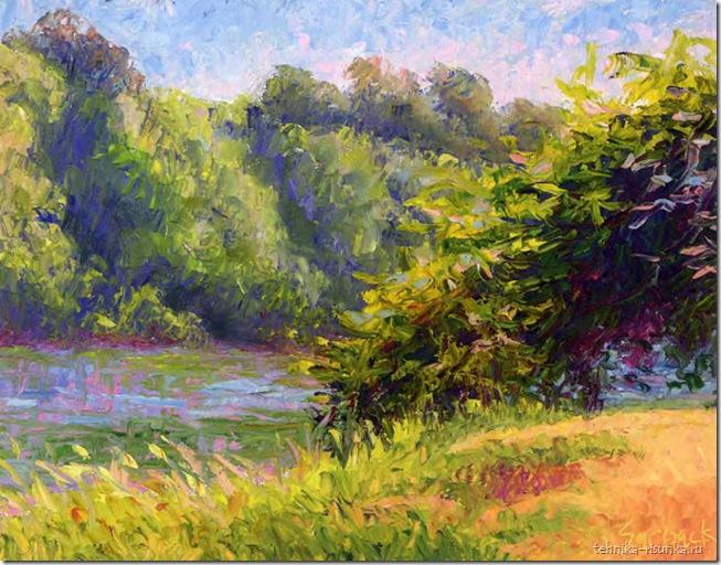 картина берега реки