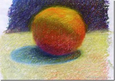 рисунок апельсина пастелью