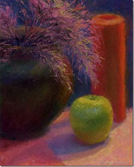 рисунок яблока и свечи