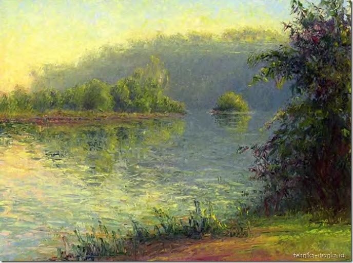 речной пейзаж: осенний вечер