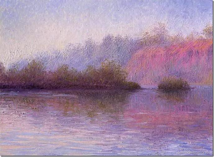 речной пейзаж: зимний туман