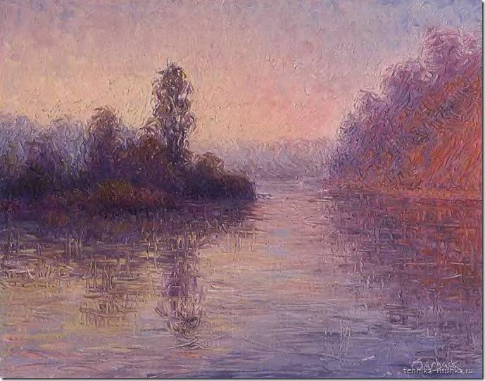 речной пейзаж: холодный зимний туман