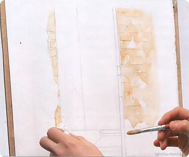 кирпичная стена: нанесение основного тона