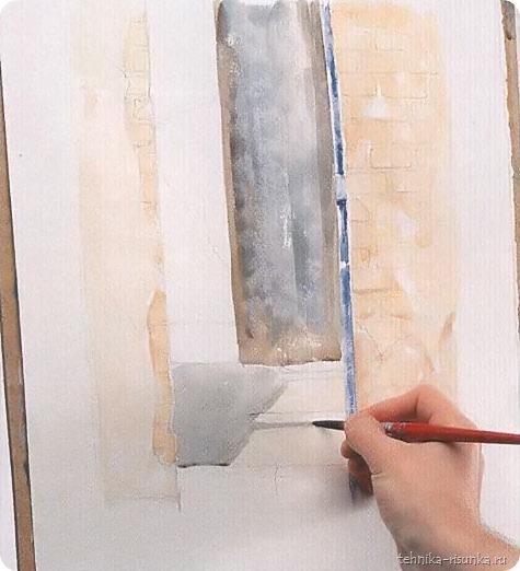 кирпичная стена: дверь и тени