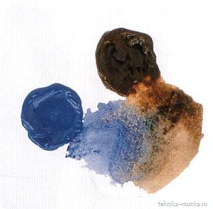 кирпичная стена: синий кобальт и жженая умбра