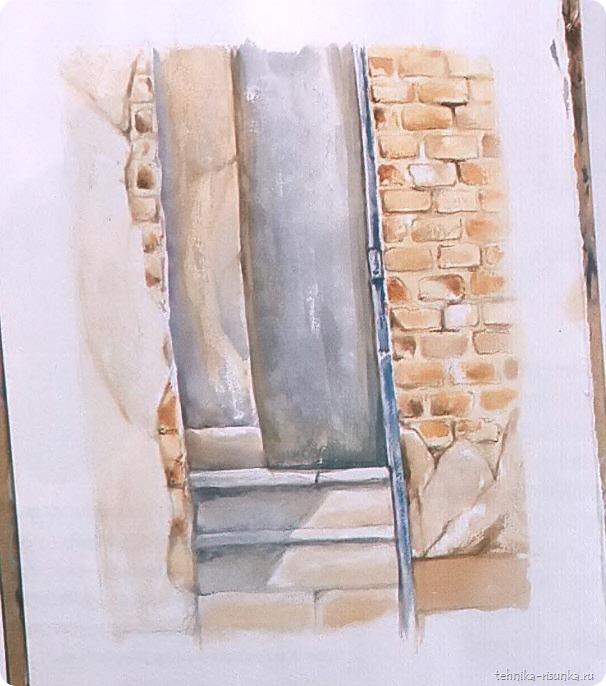 кирпичная стена: высыхание краски