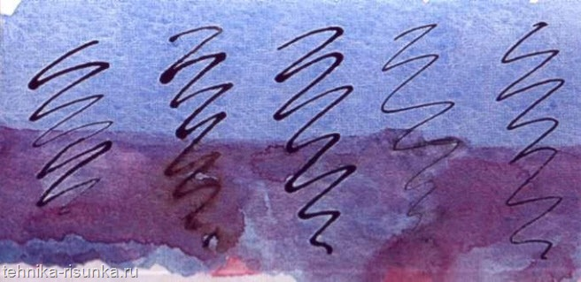 Штрихи по сухой акварели
