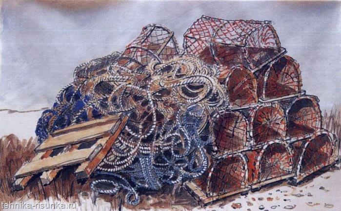 Рисунок чернилами и акварелью