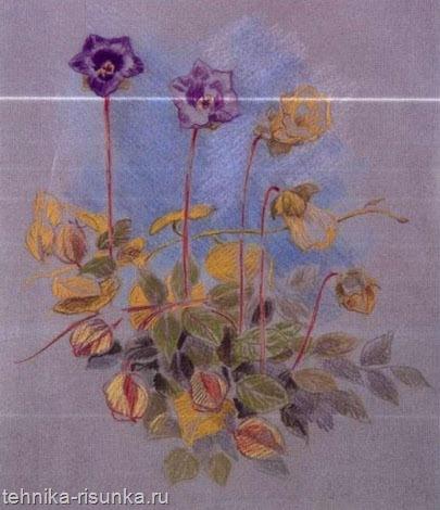 Рисунок на цветной бумаге